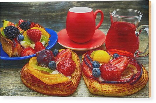Fruit Desserts And Cup Of Coffee Wood Print