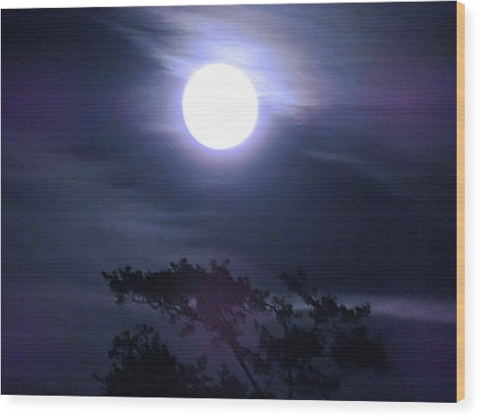 Full Moon Falling Wood Print