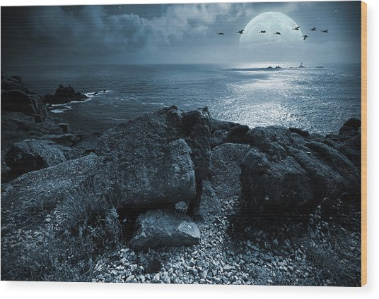 Fullmoon Over The Ocean Wood Print