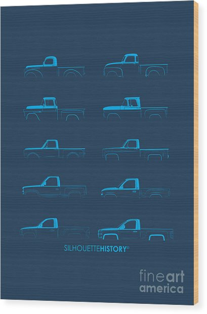 Fullsize Pickup Silhouettehistory Wood Print by Balazs Iker