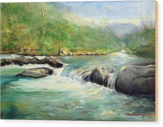 Gatlinburg River Wood Print by Max Mckenzie