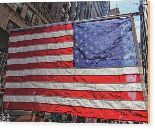 Gay Pride 2017 Nyc American Flag Wood Print by Robert Ullmann