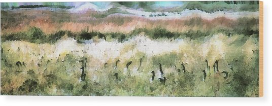 Geese In Grass Wood Print