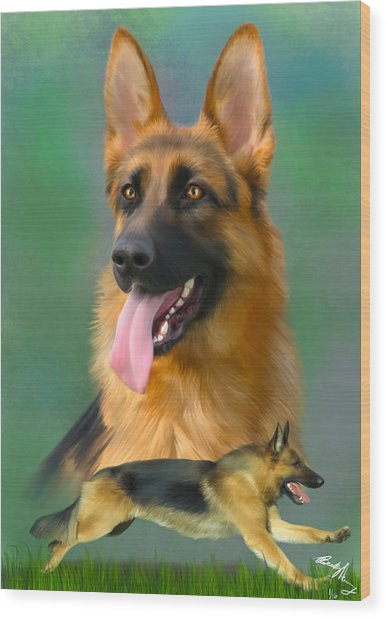 German Shepherd Breed Art Wood Print