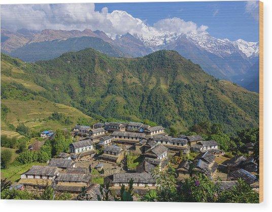 Ghandruk Village In The Annapurna Region Wood Print