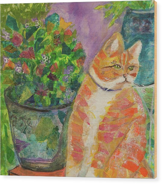 Ginger With Flowers Wood Print