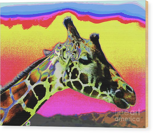 Giraffe Fun Wood Print