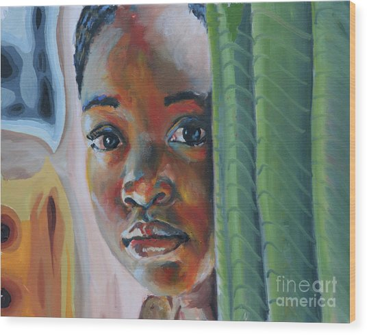 Girl Behind The Green Curtain Wood Print