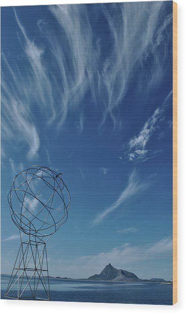 Globe Symbol View  On Sky Background In Norway Wood Print