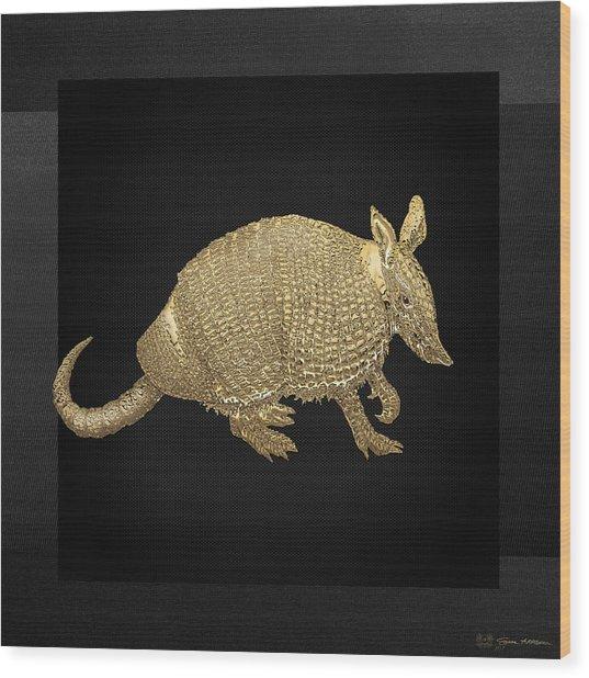 Gold Armadillo On Black Canvas Wood Print