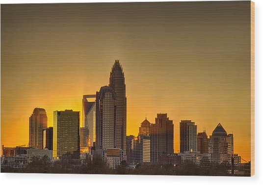 Golden Charlotte Skyline Wood Print