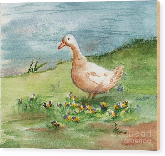 Golden Goose Wood Print by Brenda Thour