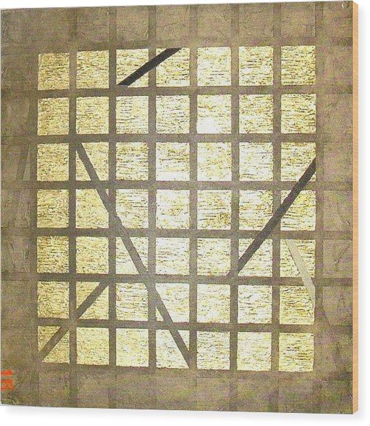Golden Gridwork Wood Print