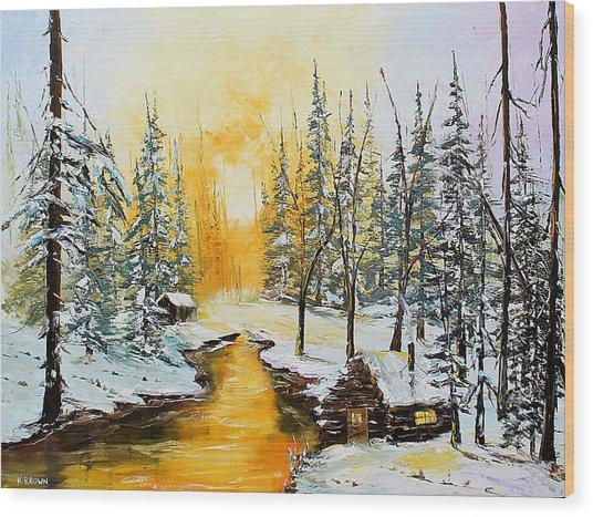 Golden Winter Wood Print