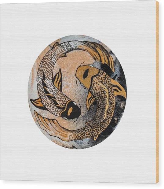 Wood Print featuring the painting Golden Yin And Yang by Darice Machel McGuire