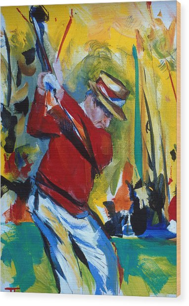 Golf Red Wood Print