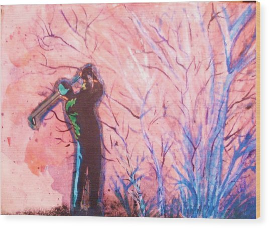 Golfer In The Pink For Par II Wood Print by Anne-Elizabeth Whiteway
