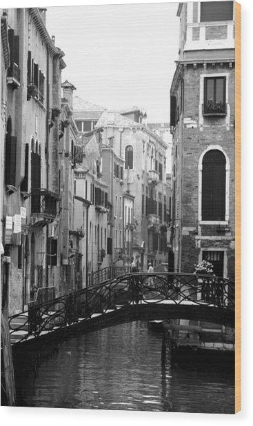 Gondola Ride In Venice Wood Print