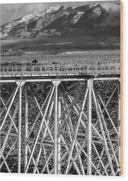 Gorge Bridge Black And White Wood Print