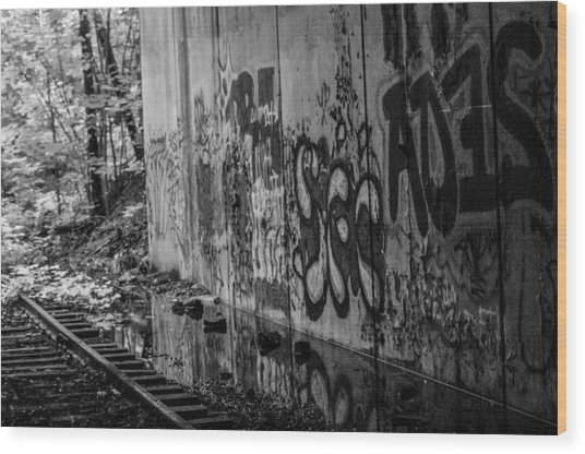 Graffitti And Train Tracks Wood Print