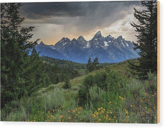 Grand Stormy Sunset Wood Print