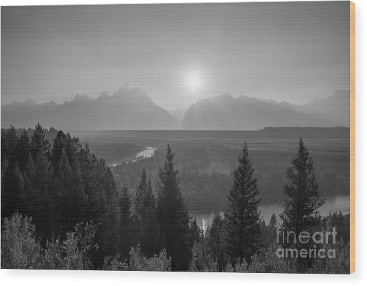 Grand Teton Sunset At Snake River  Wood Print