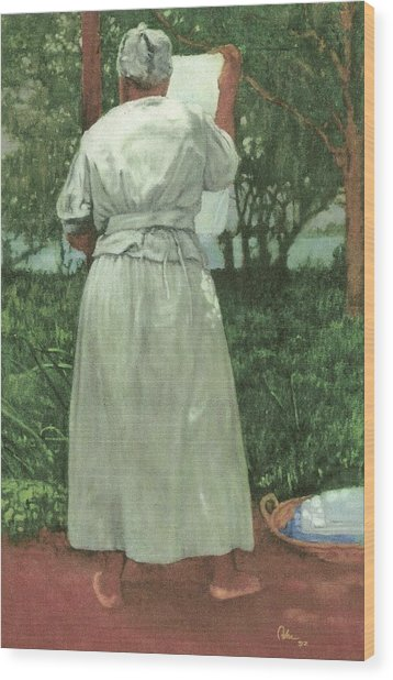 Granny At The Line Wood Print by Perry Ashe