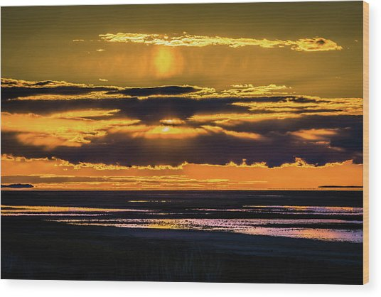 Great Salt Lake Sunset Wood Print