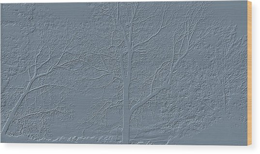Grey Embossed Trees Wood Print
