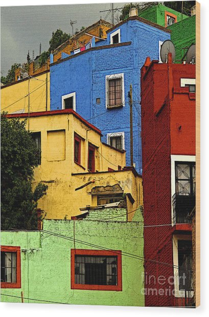 Guanajuato Hillside 3 Wood Print by Mexicolors Art Photography