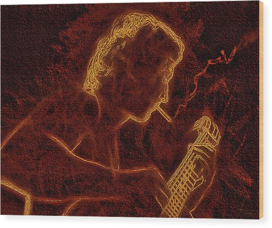 Guitar Player Wood Print