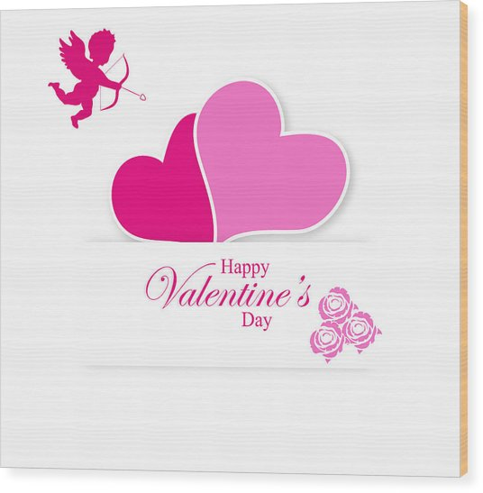 Happy Valentine's Day Wood Print
