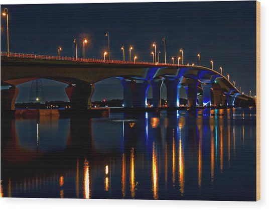Hathaway Bridge At Night Wood Print