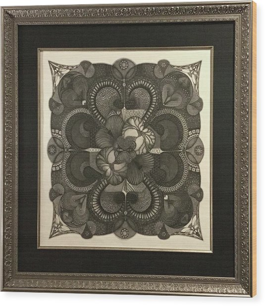 Wood Print featuring the drawing Heart To Heart by James Lanigan Thompson MFA