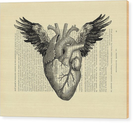 Heart With Wings Wood Print