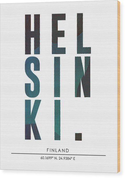 Helsinki, Finland - City Name Typography - Minimalist City Posters Wood Print
