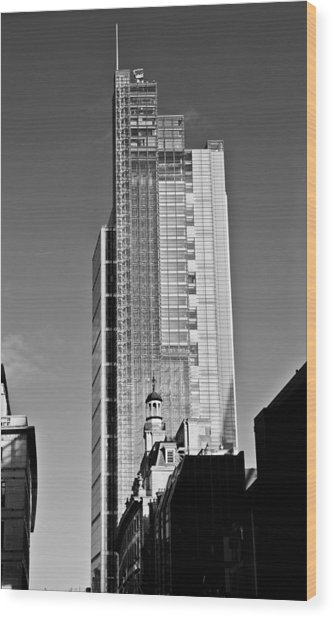 Heron Tower London Black And White Wood Print