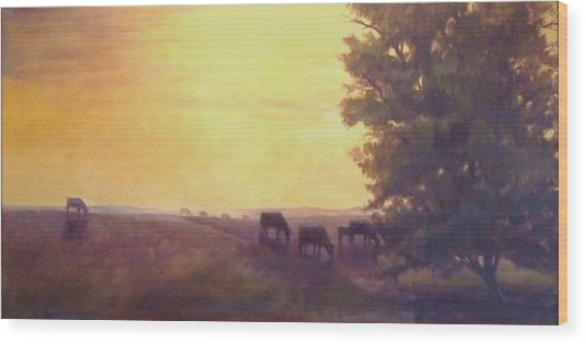 Hillside Silhouettes Wood Print by Ruth Stromswold