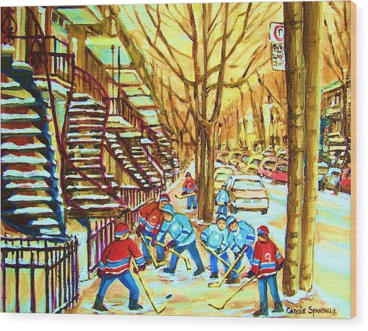 Hockey Game Near Winding Staircases Wood Print