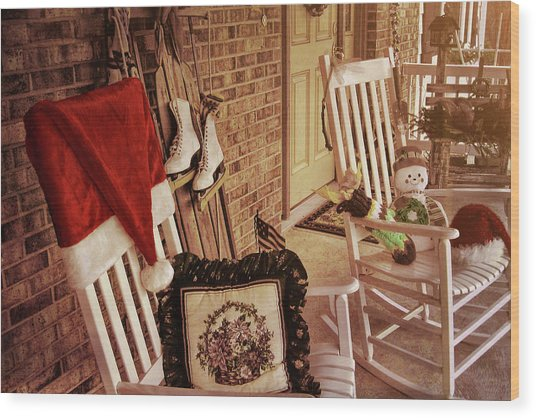 Holiday Porch Decorated Wood Print by JAMART Photography