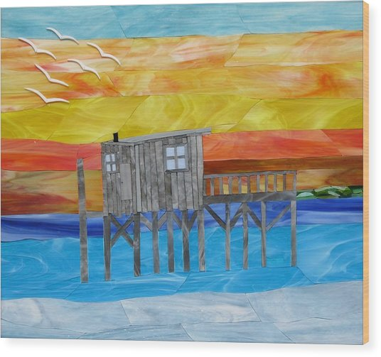 Honeymoon Sunset Wood Print by Charles McDonell