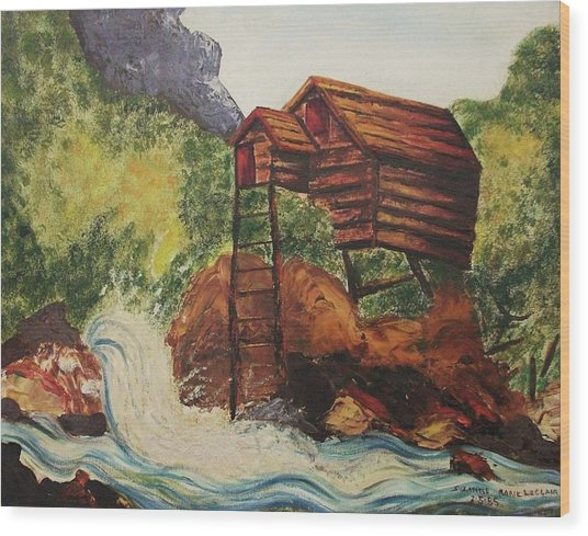 House On Stilts Wood Print by Suzanne  Marie Leclair