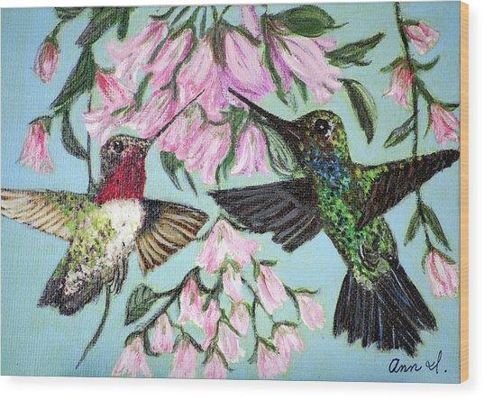 Hummingbirds Wood Print by Ann Ingham