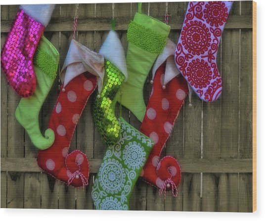 Stockings Hung With Care Wood Print by JAMART Photography