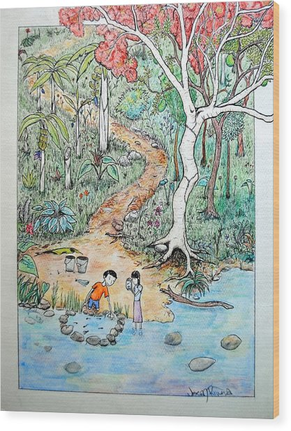Hunting For Tadpoles Wood Print