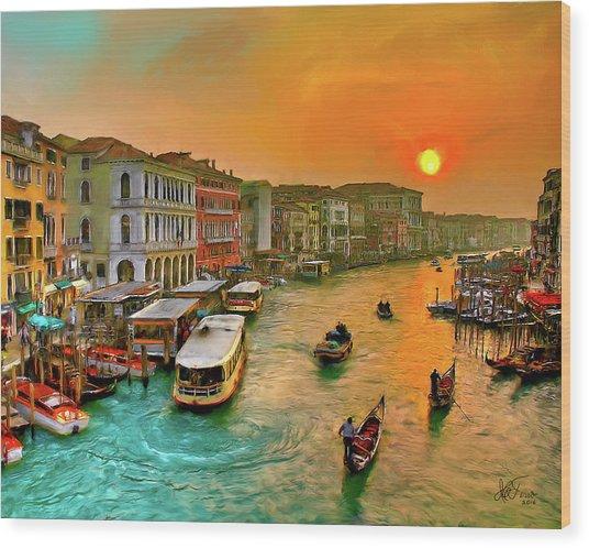 Imbarcando. Venezia Wood Print