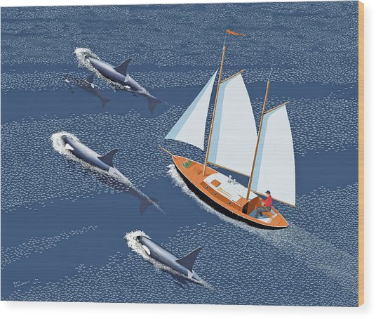 In The Company Of Whales Wood Print