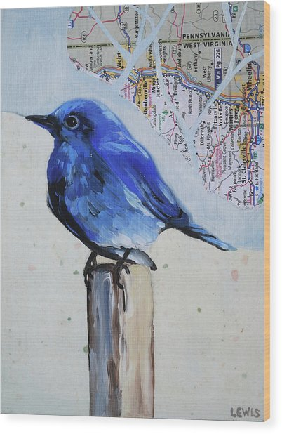Blue Bird Wood Print by Anne Lewis