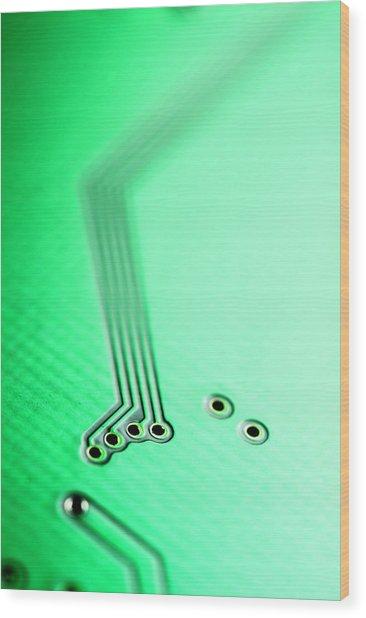 Integrated Circuit On A Computer Usb Board Wood Print by Sami Sarkis