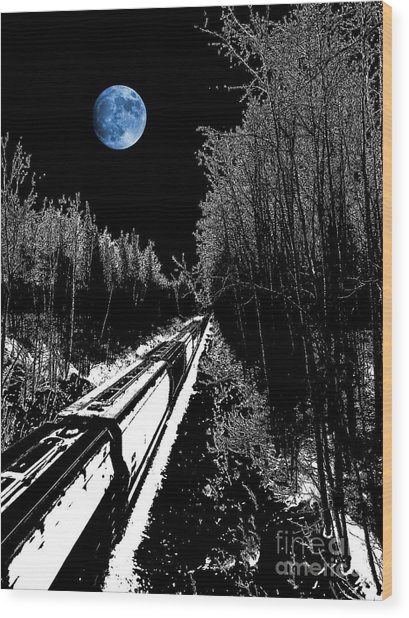 Into The Night Blues Wood Print by The Stone Age